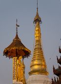 picture of yangon  - Detail at dusk of the Shwedagon Pagoda in Yangon the capital of Republic of the Union of Myanmar - JPG