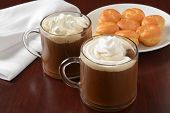 picture of cream puff  - Hot chocolate with whipped cream and mini cream puffs