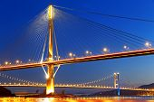 pic of hong kong bridge  - hong kong highway bridge at night - JPG