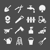foto of farm  - Set icons of garden and farm items isolated on grey - JPG