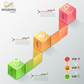 image of parallelepiped  - Modern infographics process template with realistic colorful cubes and ribbons for 3 steps - JPG