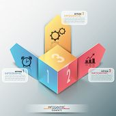 picture of parallelepiped  - 3d modern infographics options banner with realistic colorful cube and paper arrows for 3 options - JPG