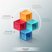 foto of parallelepiped  - Modern infographics options template with realistic colorful cubes and 4 options - JPG