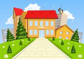 pic of public housing  - Vector cartoon modern school building with the city in the background - JPG