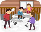 pic of snow shovel  - Illustration Featuring a Family Shoveling Snow - JPG