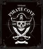 picture of pirate  - Vintage vector pirates skull frame background - JPG