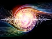 stock photo of quantum physics  - Interplay of lights and fractal elements on the subject of quantum mechanics particle physics and energy - JPG
