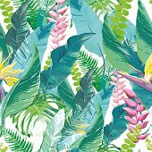 picture of jungle flowers  - Watercolor artwork of exotic flowers and leaves - JPG