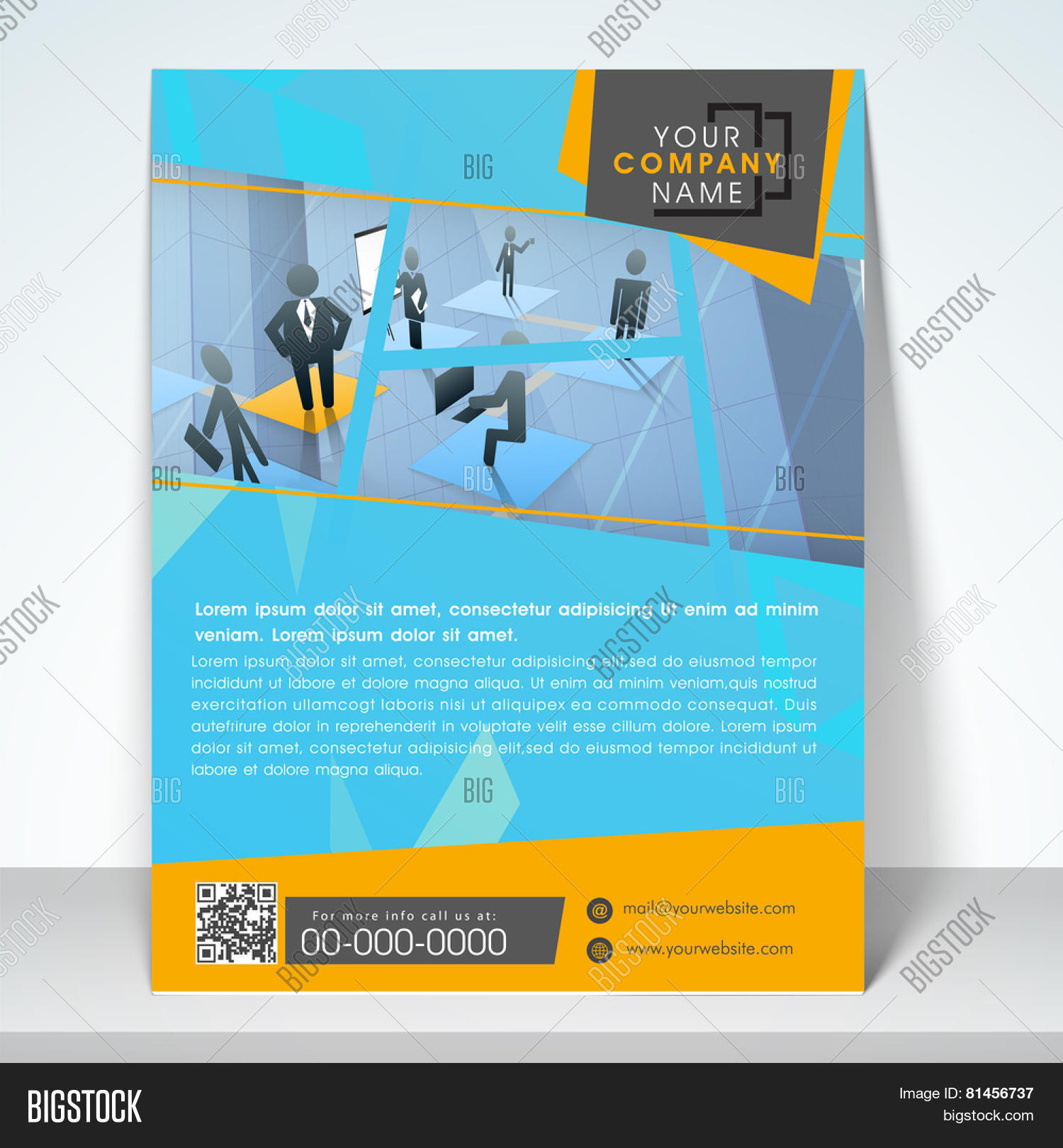 Professional business one page template, flyer or corporate banner ...