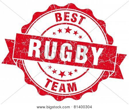 Rugby Red Grunge Seal Isolated On White