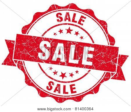 Sale Red Grunge Seal Isolated On White