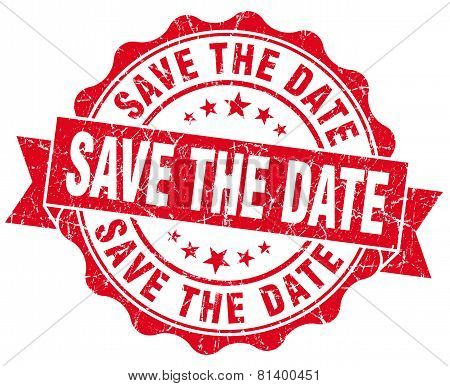 Save The Date Red Grunge Seal Isolated On White