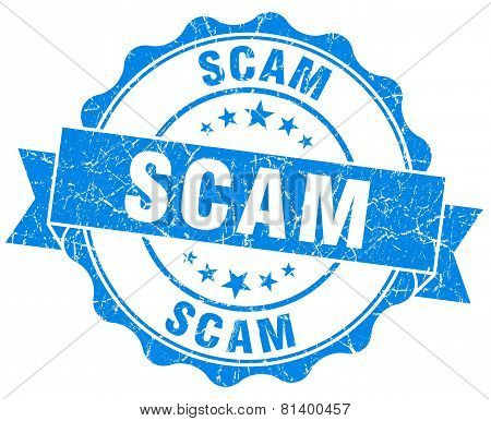Scam Blue Grunge Seal Isolated On White