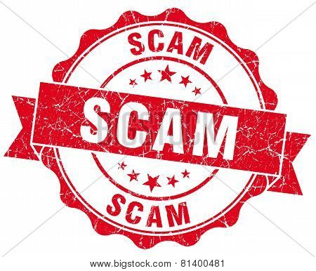 Scam Red Grunge Seal Isolated On White