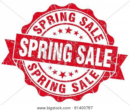 Spring Sale Red Grunge Seal Isolated On White