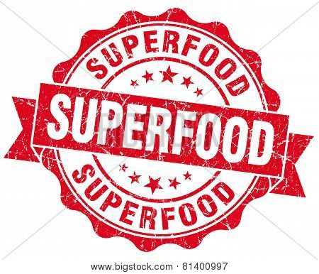 Superfood Red Grunge Seal Isolated On White