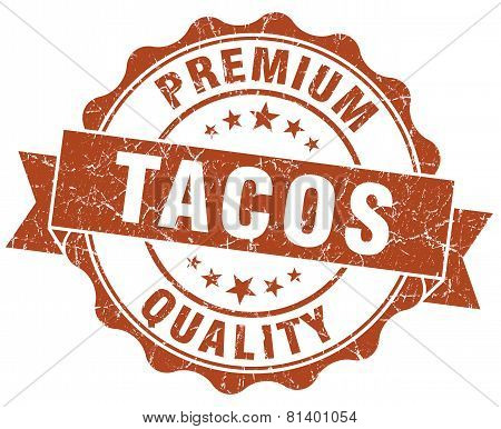 Tacos Brown Grunge Seal Isolated On White
