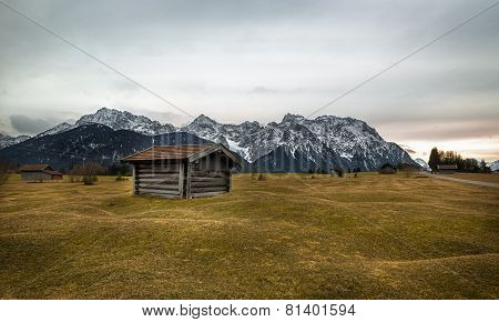 Barn in Alps near Krün, Buckelwiesen, Germany