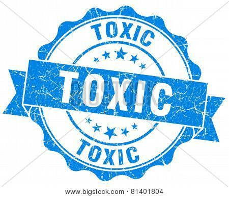 Toxic Blue Grunge Seal Isolated On White