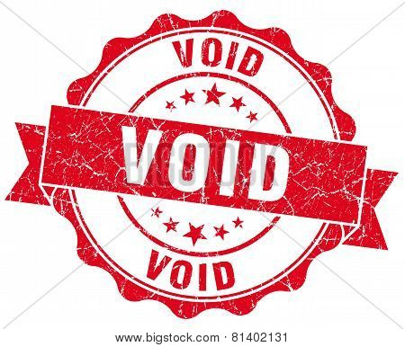 Void Red Grunge Seal Isolated On White