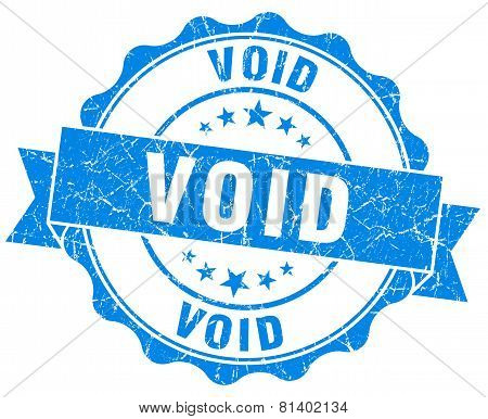 Void Blue Grunge Seal Isolated On White