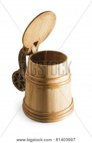 Authentic wooden rustic beer mug tankard