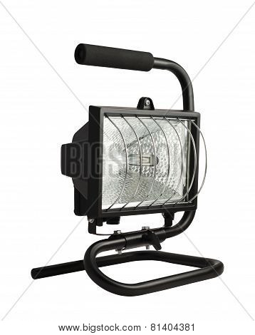 Portable halogen construction lamp isolated