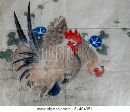 Vintage Japanese Watercolor With Chickens