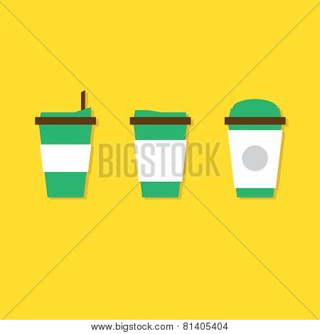 Flat Design A Set Of Hot Coffee Paper Cup Vector