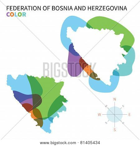 Abstract vector color map of Federation Bosnia and Herzegovina.