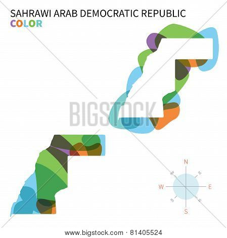 Abstract vector color map of Sahrawi Arab Democratic Republic with transparent paint effect.