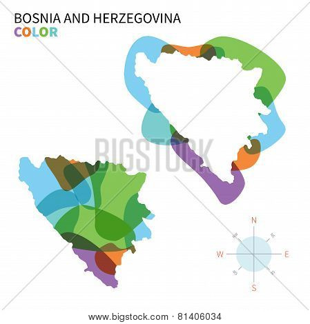 Abstract vector color map of Bosnia and Herzegovina with transparent paint effect.
