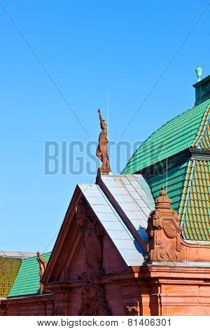 WIESBADEN, GERMANY - FEB 3, 2012: roof of neo-classical old train station in Wiesbaden