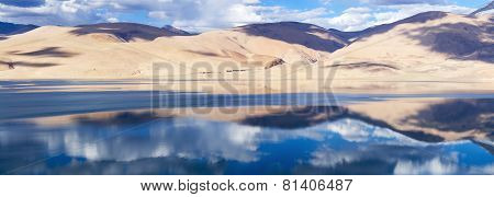 Tso Moriri Mountain Lake Panorama With Beautiful Reflections In The Lake