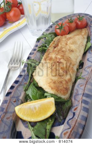 fish and salad on earthenware platters; water glass