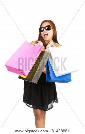 Asian Female Shopper Bags Mouthing At Camera V
