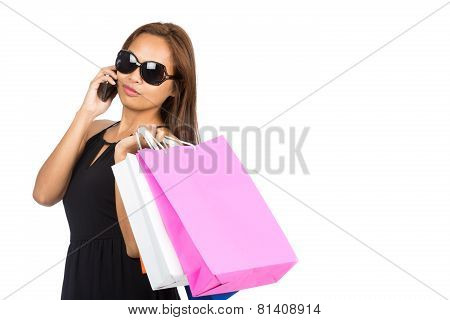 Sunglasses Asian Woman Shopping Bags Phone Half H