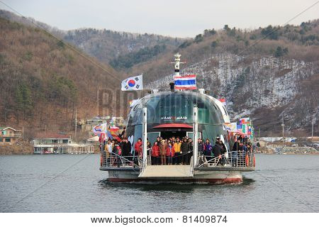 Tourists Are Traveling To Nami Island, One Of The Top Destinations In South Korea
