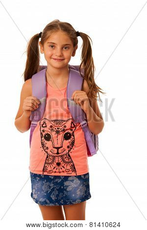 Young School Girl With Schoolbag Isolated Over White Background