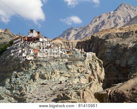Diskit Monastery Panorama At Sunny Day In Nubra Valley