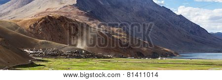 Panorama Of The Korzok Monastery And Village With Mountains And Tsomoriri Lake