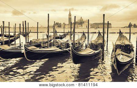 Gondolas in Venice, Italy. Retro style toned image