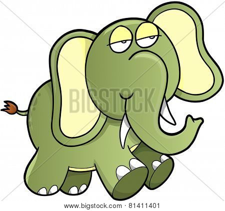 Lazy Sleepy Elephant Vector Illustration Art