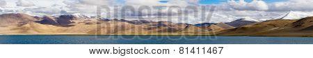 Tso Kar Mountain Salty Lake Panorama