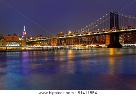 Manhattan Bridge sunset New York NY NYC skyline USA