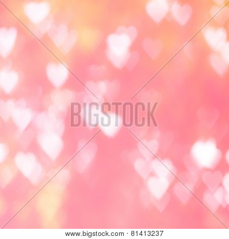Abstract Background Heart Shape Bokeh In Warm Tone