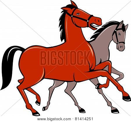 Two Horses Prancing Side Cartoon