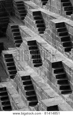 Steps At Chand Baori Stepwell In Jaipur