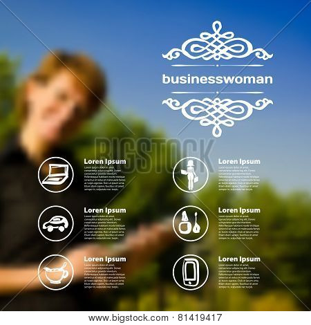Set Of Infographics On Blurred Photographic Background On The Topic Of Business Woman