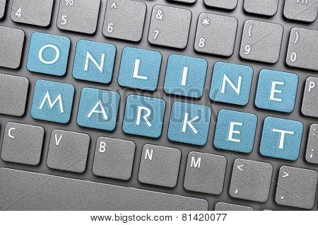 Blue online market key on keyboard